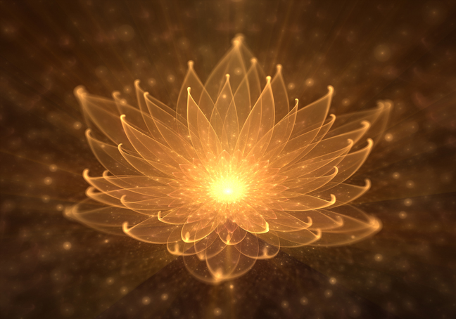 Radiant Orange Lotus With Rays Of Light, Water Lily, Enlightenme