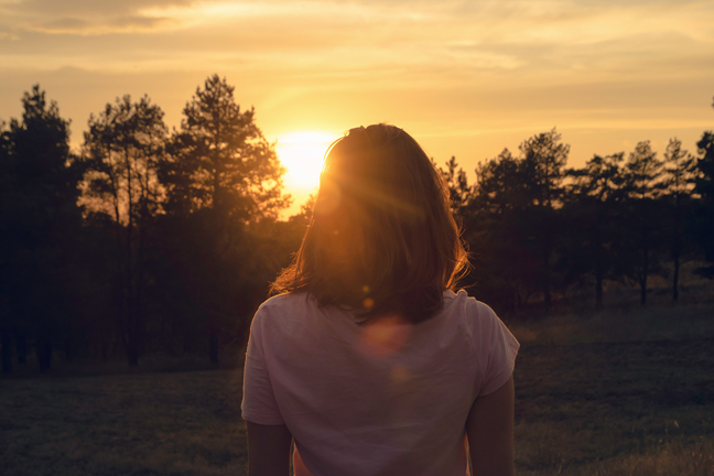 Woman In Nature In Sunset. People In Nature.beautiful Woman In M